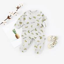 Baby Unisex Banana And Letter Graphic Jumpsuit