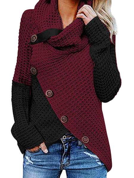 Yoins Crossed Front Button Design Roll Neck Knit Sweater