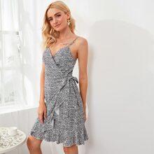 Dalmatian Print Tie Side Cami Wrap Skirt Dress