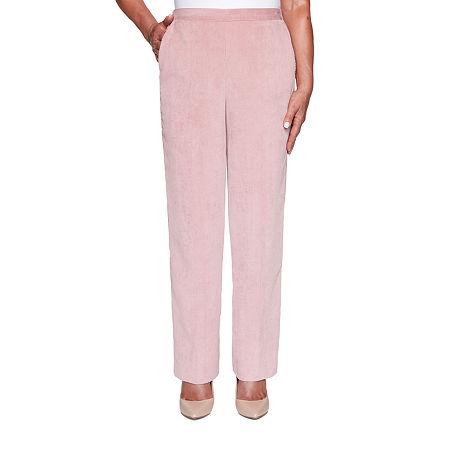 Alfred Dunner St Moritz Womens Straight Corduroy Pant, 14 Short , Pink