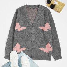 Strickjacke mit Knopfen und Schmetterling Muster