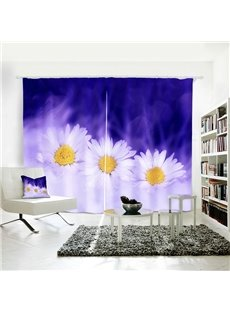 3D Beautiful White Flower Printed Curtain for Dining/ Living Room