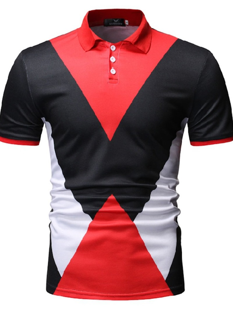 Ericdress Color Block Button Casual Mens Polo Shirt