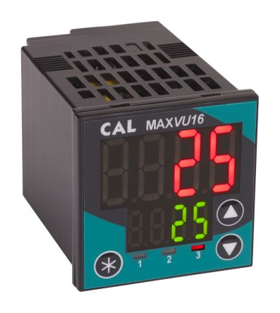CAL MAXVU16 1/16 DIN PID Temperature Controller, 48 x 48mm 1 Input, 2 Output Relay, SSR, 110 → 240 V ac Supply