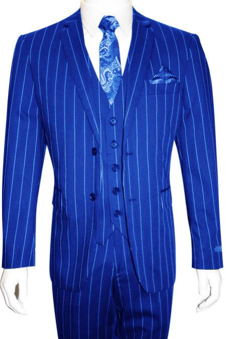 Men's Bold Gangster 1920s Vintage 2 Button Vested Suit Royal Blue