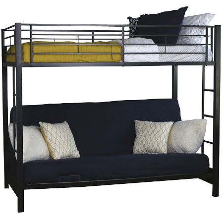 Pearson Twin Bunk Bed Over Futon, One Size , Black