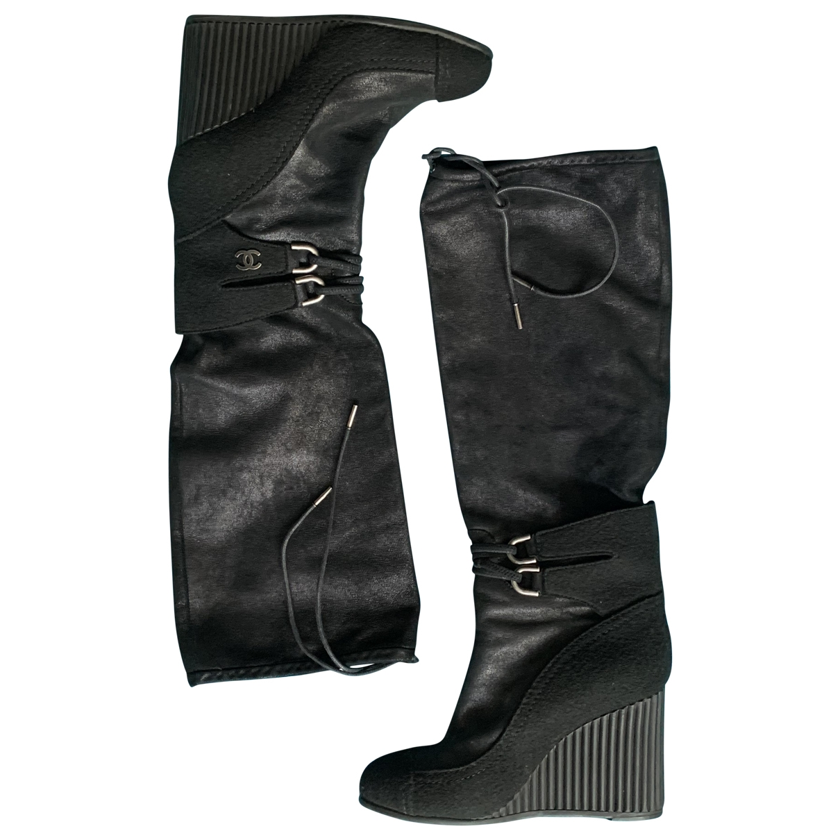 Chanel \N Stiefel in  Schwarz Leinen