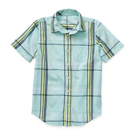 Arizona Little & Big Boys Short Sleeve Button-Down Shirt, X-large (18-20) , Blue