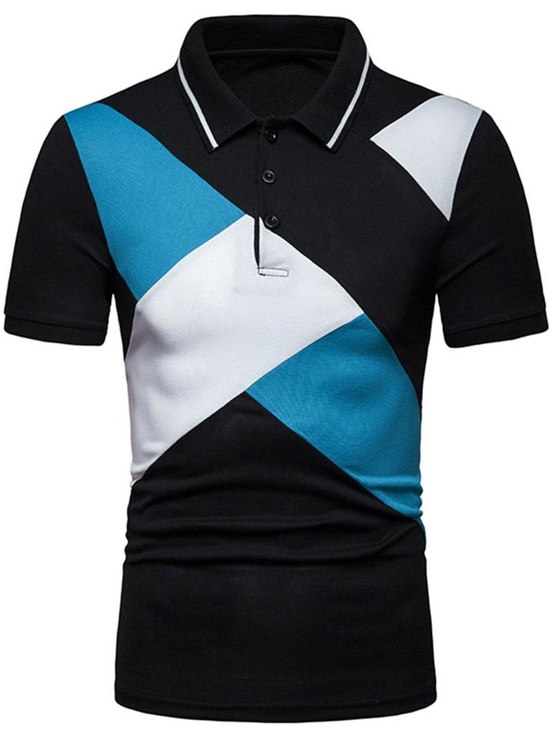 Ericdress Color Block Patchwork Mens Short Sleeve Polo Shirt