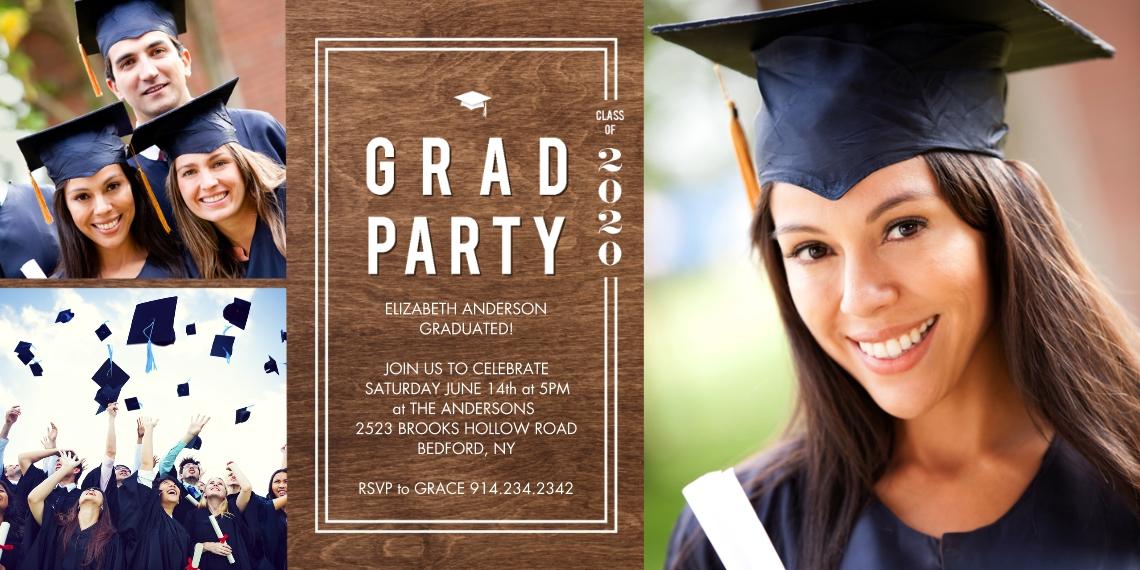 Graduation Invitations 4x8 Flat Card Set, 85lb, Card & Stationery -2020 Grad Party Woodgrain Frame by Tumbalina