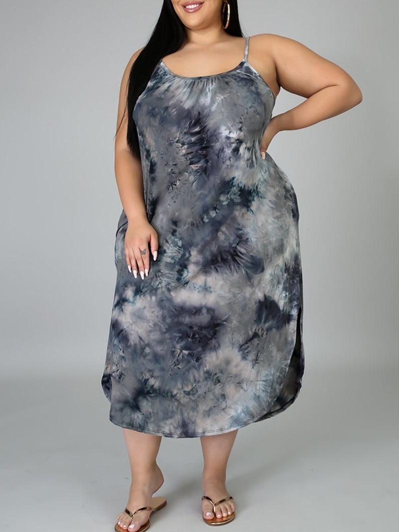 Ericdress Split Sleeveless Mid-Calf PlusSize High Waist Dress