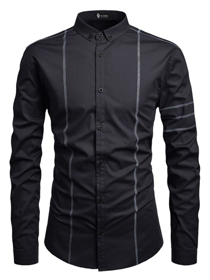 Ericdress Lapel Fashion Button Mens Slim Shirt