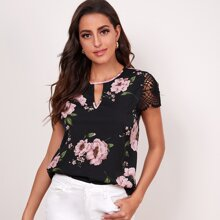 Floral Keyhole Neck Lace Sleeve Top