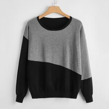 Plus Two Tone Drop Shoulder Sweater