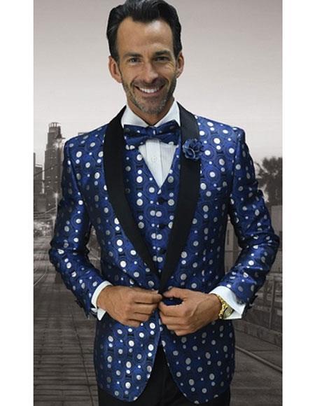 Men's One Button Polka Dot Pattern Shawl Lapel Royal Vest Tuxedo