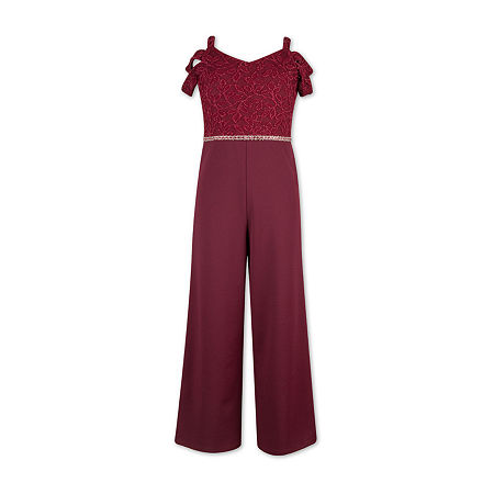 Speechless Big Girls Short Sleeve Jumpsuit, 7 , Red