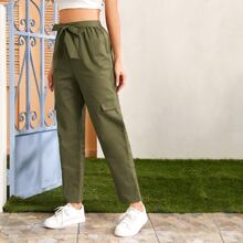 Tie Front Flap Detail Pants
