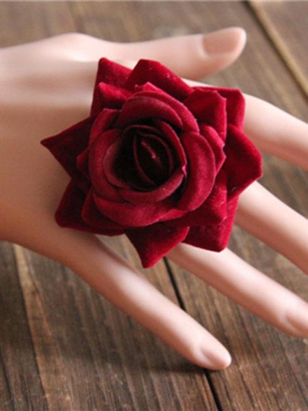 Milanoo Gothic Lolita Rings Burgundy Silk Rose Lolita Rings