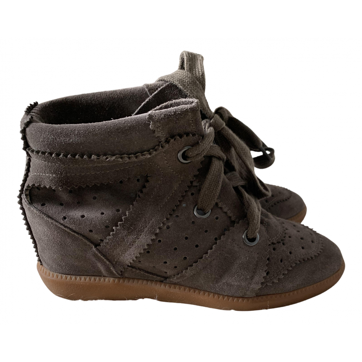 Isabel Marant Betty Khaki Leather Trainers for Women 37 EU