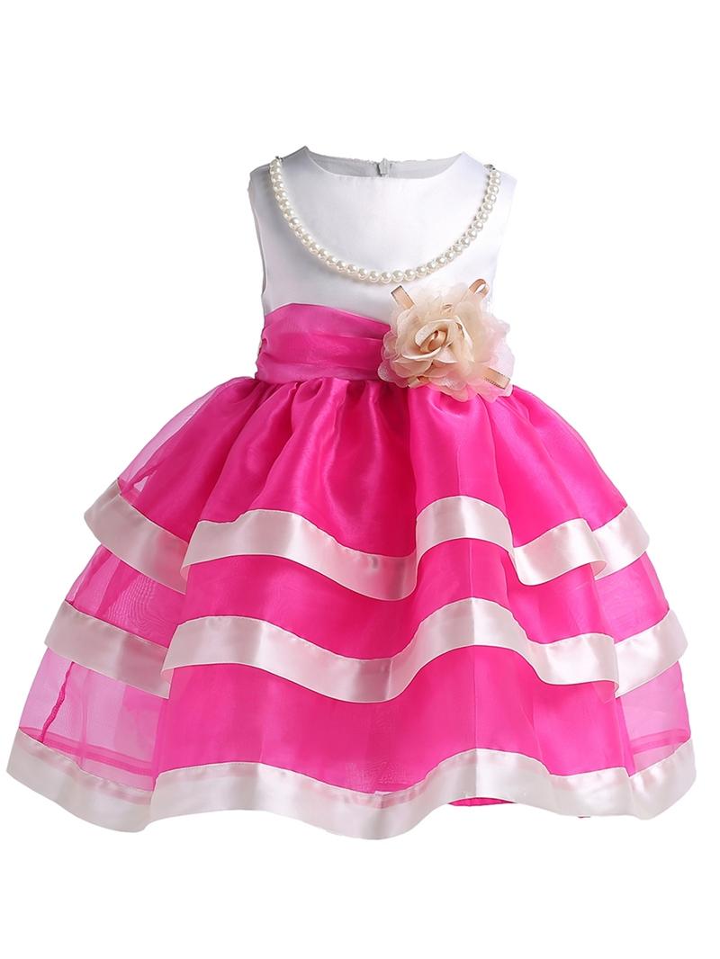 Ericdress Mesh Patchwork Sleeveless Girl's Layered Dress