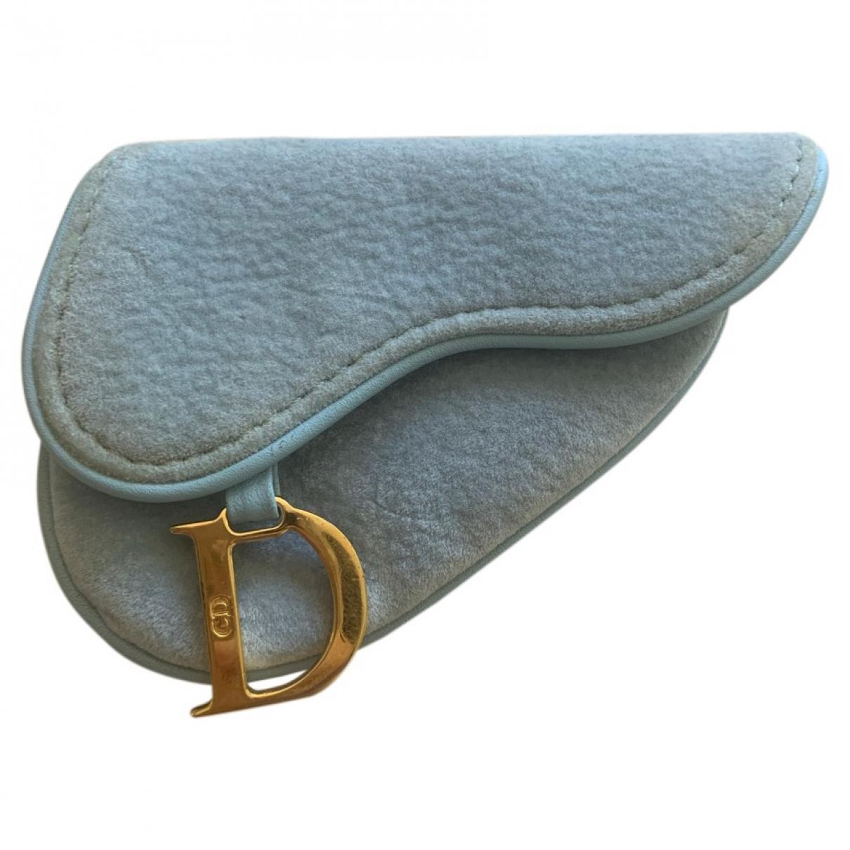Dior - Petite maroquinerie Saddle pour femme en velours - bleu