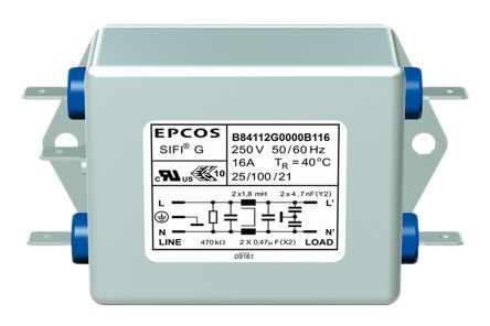 EPCOS , B84112G 12A 250 V ac/dc 50 → 60Hz, Chassis Mount EMI Filter, Tab, Single Phase