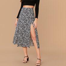 Falda con estampado floral de margarita de muslo con abertura