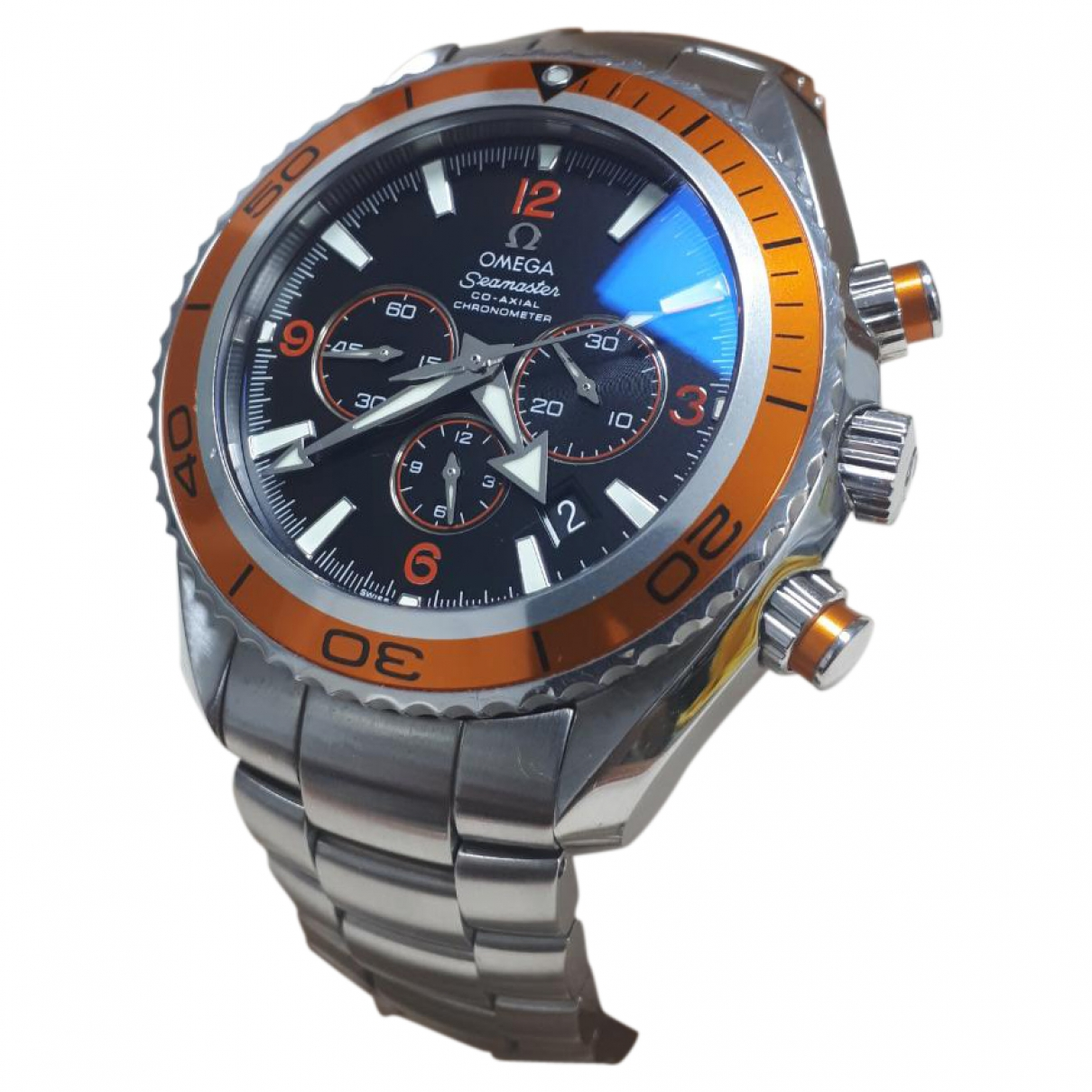 Omega - Montre Seamaster Planet Ocean pour homme en acier - orange