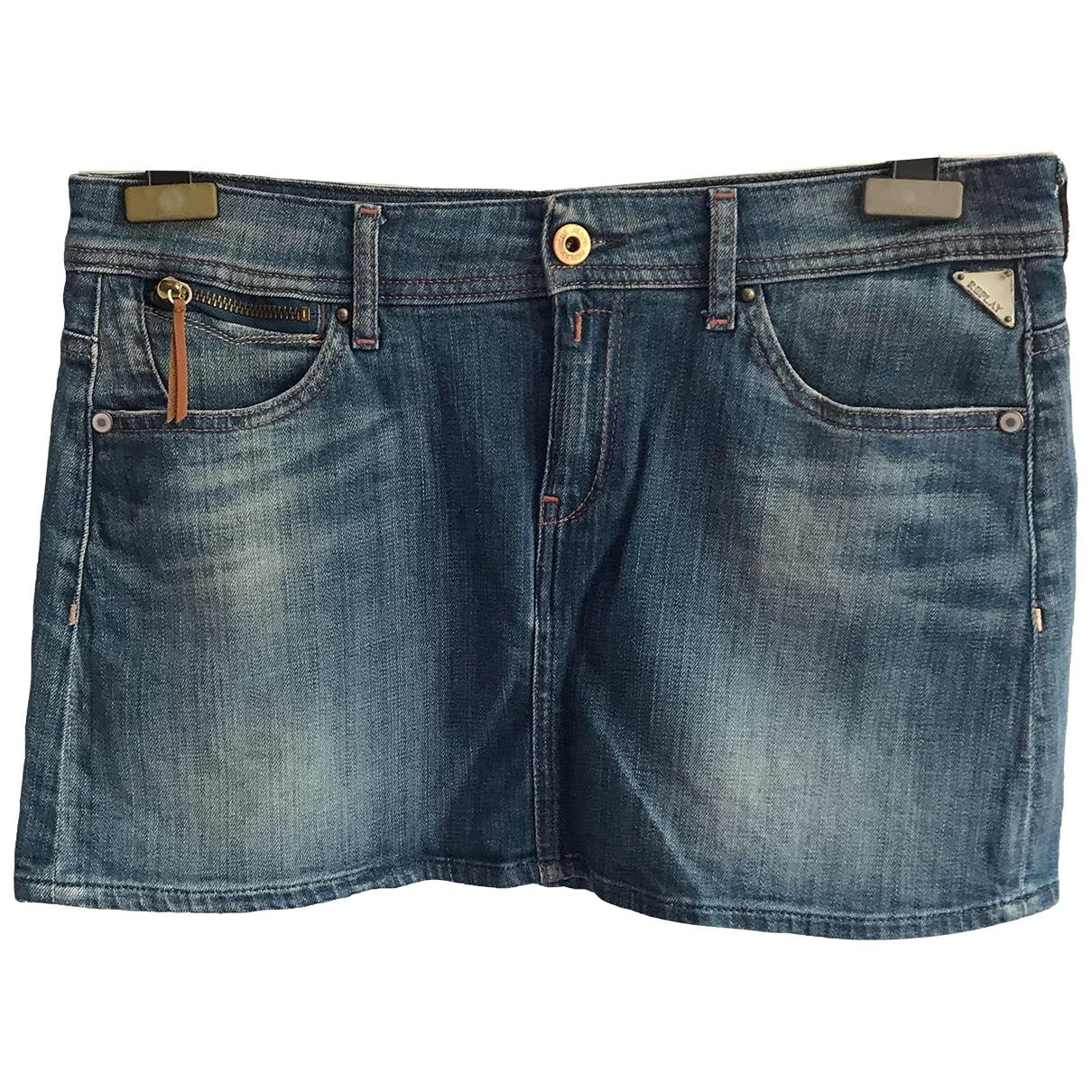Replay \N Blue Cotton - elasthane skirt for Women 44 IT
