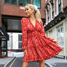 Flounce Sleeve Backless Frill Trim Layered Allover Floral Dress