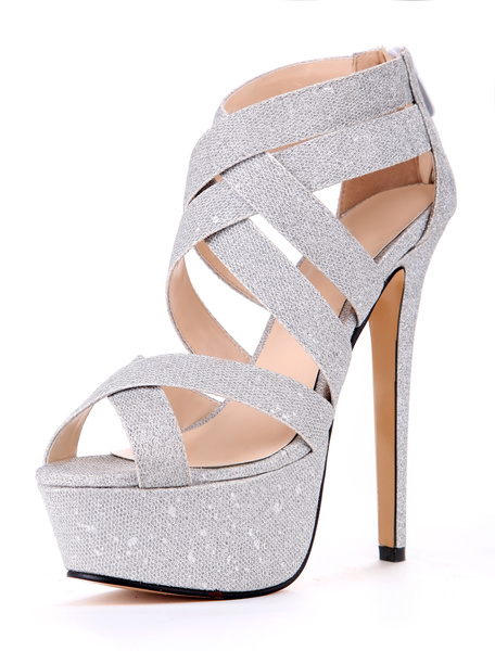 Milanoo Silver Cloth Stiletto Heel Gladiator Sandals