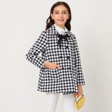 Mantel mit Schleife vorn, doppelten Knopfleiste und Hahnentritt Muster