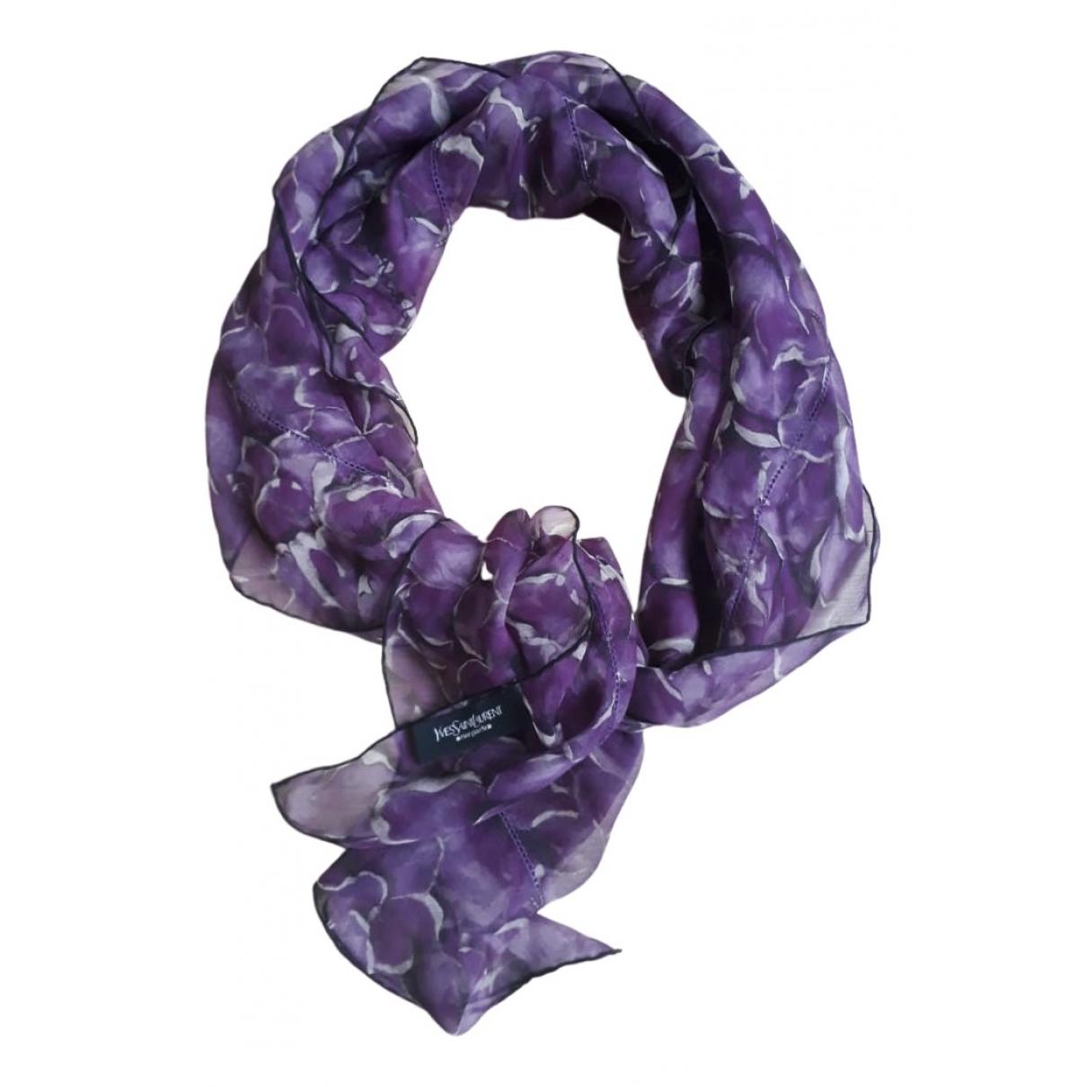 Yves Saint Laurent - Foulard   pour femme en soie - violet