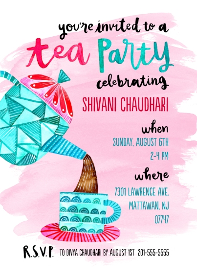 Kids Birthday Party 5x7 Cards, Premium Cardstock 120lb with Elegant Corners, Card & Stationery -Vintage Tea Party Invite