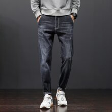 Men Stonewash Ripped Letter Patched Jeans