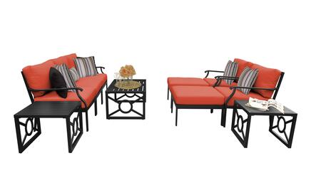 MADISON-10c-TANGERINE Kathy Ireland Homes and Gardens Madison Ave. 10 Piece Aluminum Patio Set 10c with 1 Set of Snow and 1 Set of Persimmon