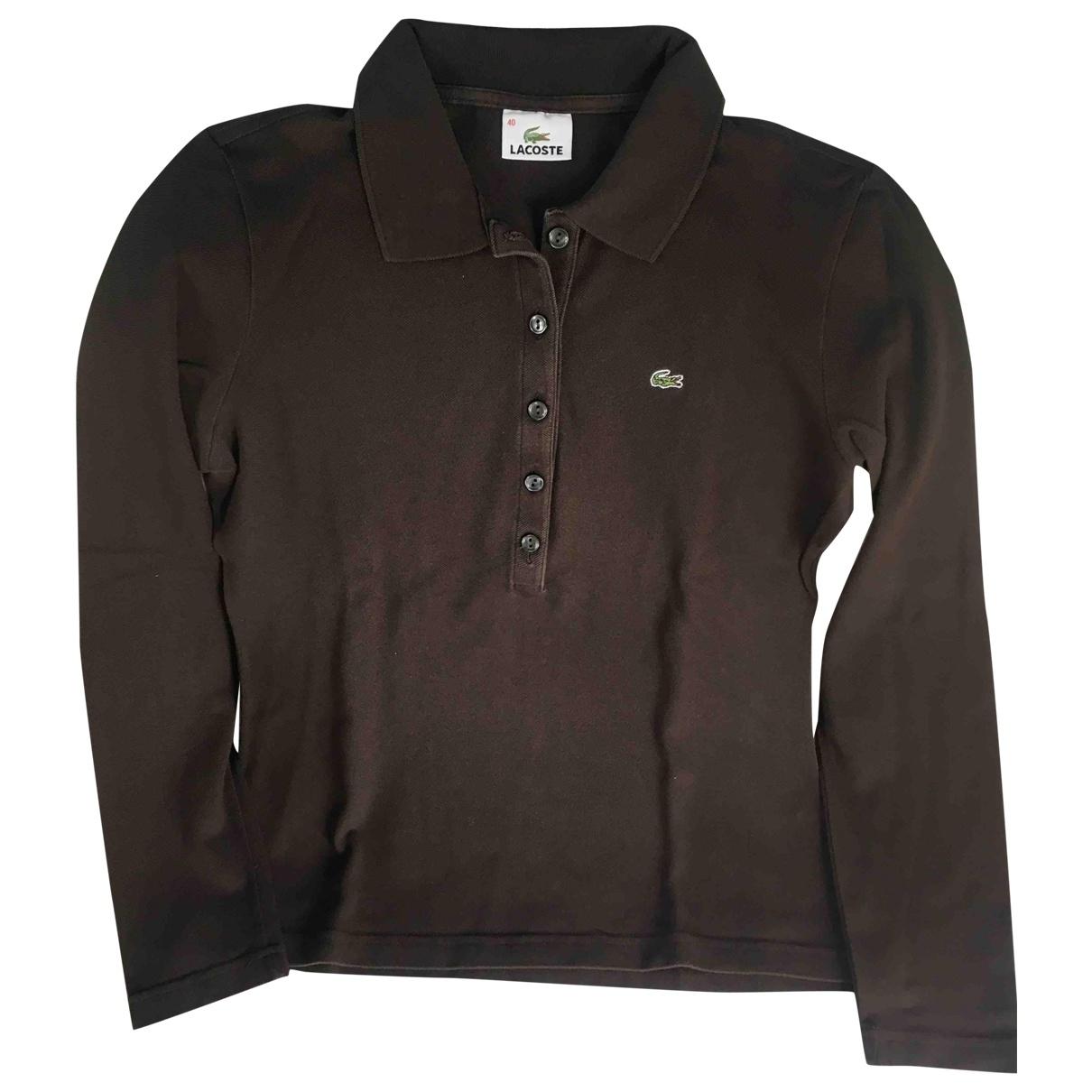 Lacoste - Top   pour femme en coton - marron