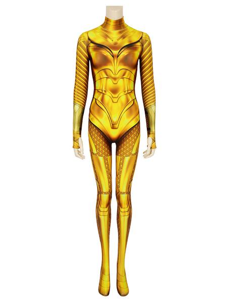 Milanoo DC Wonder Woman 1984 Diana Prince Golden Catsuit Cosplay Costume