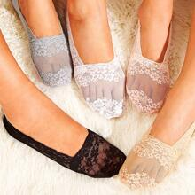 Solid Lace Invisible Socks 5pairs