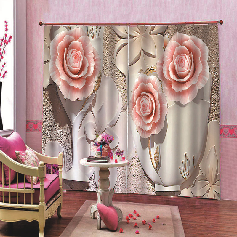 3D Relief Flowers Decorative Blackout Window Curtains for Living Room No Pilling No Fading No off-lining Drapes Blocks Out 80% of Light and 90% of UV