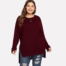 T-Shirt mit Stufensaum und Schlitz