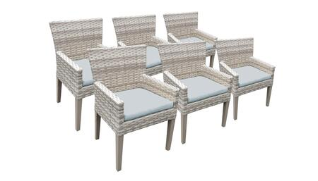 TKC245b-DC-3x-C-SPA 6 Dining Chairs With Arms - Beige and Spa