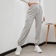 Elastic Waist Flap Pocket Sweatpants
