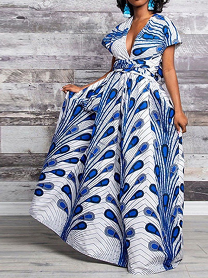 Ericdress African Fashion Backless Floor-Length V-Neck A-Line Dress