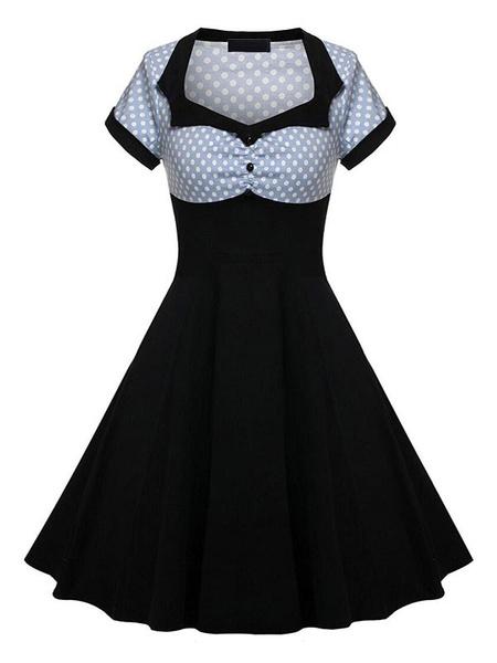 Milanoo Vestido vintage Mujer blanca de los años 50 Vestido corto de manga corta con cuello cuadrado