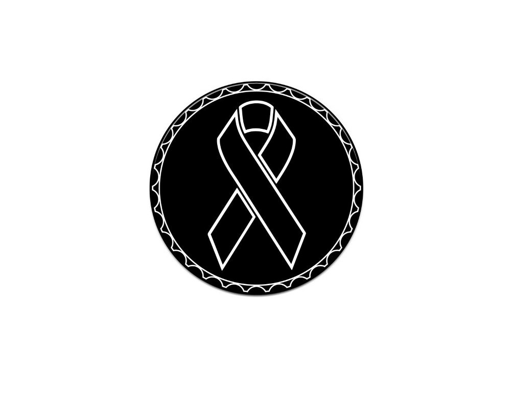 Tufskinz JEX059-WHT-367-G Rated Badge Fits Jeep 1 Piece Kit In Brushed Silver(Melanoma Cancer Ribbon)