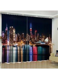 3D Modern Buildings Printed Wonderful Night Scenery 2 Panels Custom Living Room Curtain