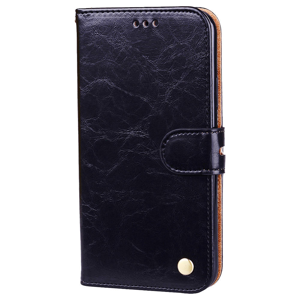 Hat-Prince Protective Leather Phone Case for iPhone X/XS PC+TPU Phone Case with Kickstand Function - Black