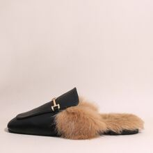 Square Toe Metal Decor Fluffy Mules
