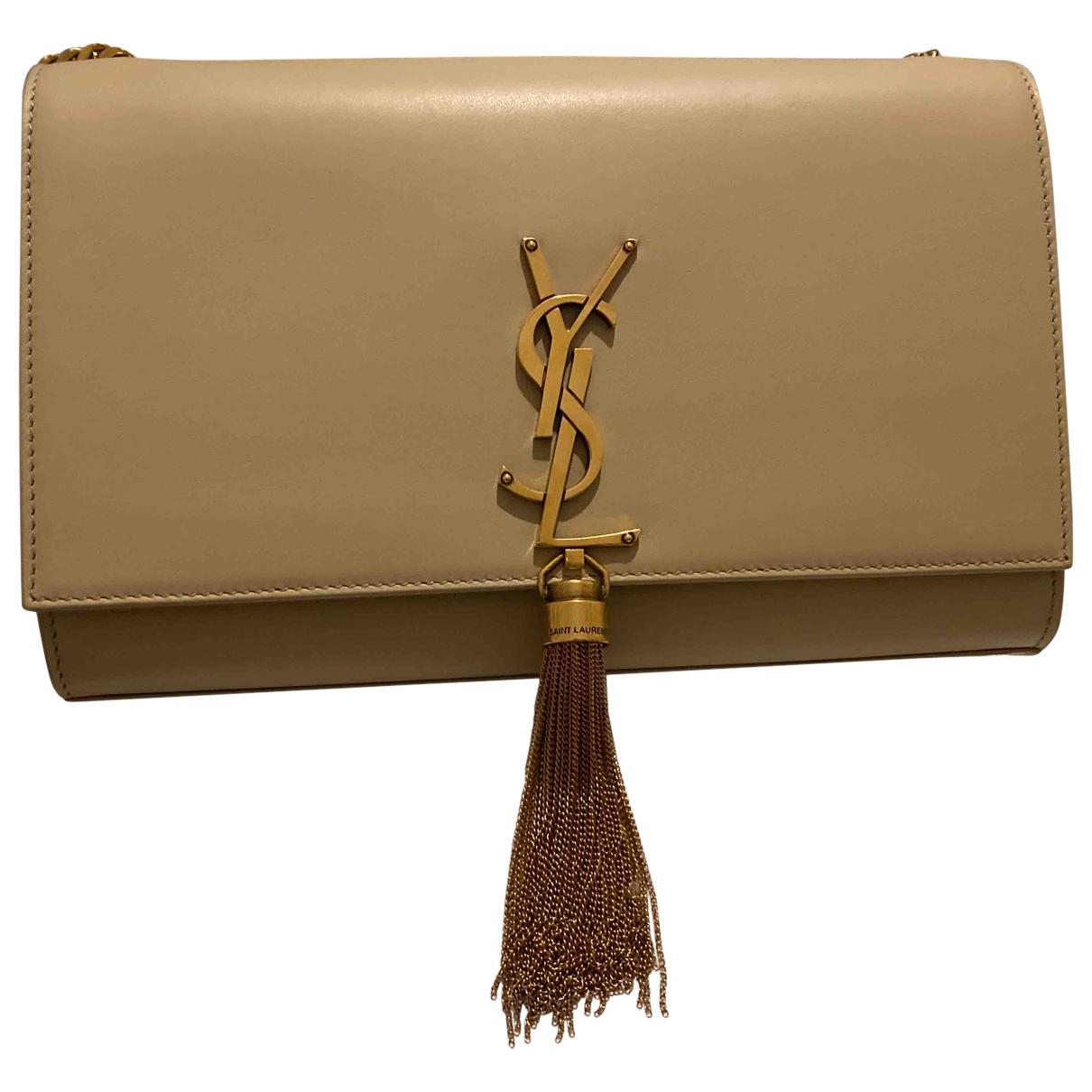 Saint Laurent Pompom Kate Handtasche in  Beige Leder